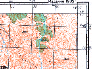 Reduced fragment of topographic map ru--gs--100k--k44-024--N043-40_E083-30--N043-20_E084-00