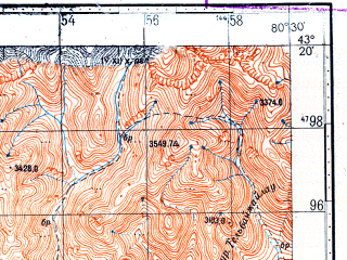 Reduced fragment of topographic map ru--gs--100k--k44-029--N043-20_E080-00--N043-00_E080-30