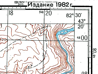 Reduced fragment of topographic map ru--gs--100k--k44-033--(1978)--N043-20_E082-00--N043-00_E082-30