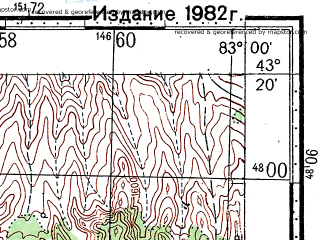 Reduced fragment of topographic map ru--gs--100k--k44-034--(1978)--N043-20_E082-30--N043-00_E083-00
