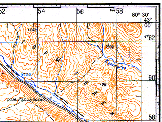 Reduced fragment of topographic map ru--gs--100k--k44-041--N043-00_E080-00--N042-40_E080-30; towns and cities Narynkol, Sarybastau, Sumbe, Tekes