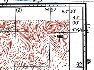 Reduced fragment of topographic map ru--gs--100k--k44-046--(1968)--N043-00_E082-30--N042-40_E083-00