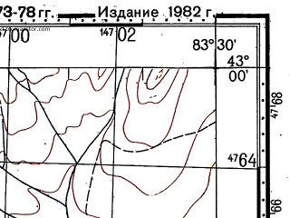 Reduced fragment of topographic map ru--gs--100k--k44-047--(1973)--N043-00_E083-00--N042-40_E083-30
