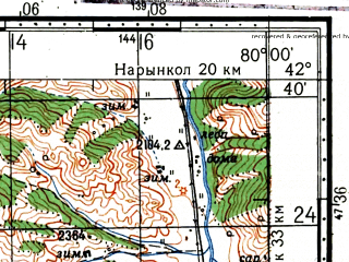 Reduced fragment of topographic map ru--gs--100k--k44-052--(1973)--N042-40_E079-30--N042-20_E080-00