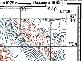 Reduced fragment of topographic map ru--gs--100k--k44-055--(1978)--N042-40_E081-00--N042-20_E081-30