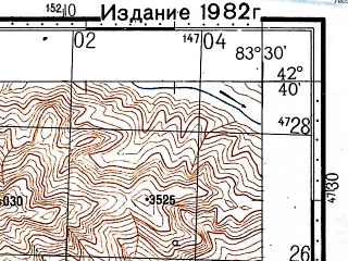 Reduced fragment of topographic map ru--gs--100k--k44-059--(1978)--N042-40_E083-00--N042-20_E083-30