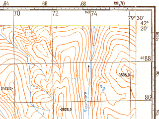Reduced fragment of topographic map ru--gs--100k--k44-063--N042-20_E079-00--N042-00_E079-30