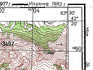 Reduced fragment of topographic map ru--gs--100k--k44-071--(1977)--N042-20_E083-00--N042-00_E083-30