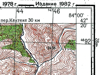 Reduced fragment of topographic map ru--gs--100k--k44-072--(1978)--N042-20_E083-30--N042-00_E084-00; towns and cities Lai-i-su