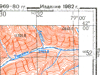 Reduced fragment of topographic map ru--gs--100k--k44-074--N042-00_E078-30--N041-40_E079-00
