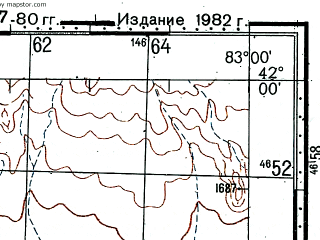 Reduced fragment of topographic map ru--gs--100k--k44-082--(1977)--N042-00_E082-30--N041-40_E083-00; towns and cities Qiantodong