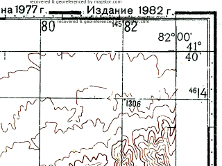 Reduced fragment of topographic map ru--gs--100k--k44-092--(1977)--N041-40_E081-30--N041-20_E082-00