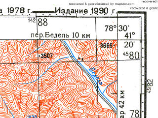 Reduced fragment of topographic map ru--gs--100k--k44-097--N041-20_E078-00--N041-00_E078-30