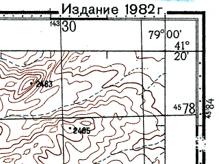Reduced fragment of topographic map ru--gs--100k--k44-098--(1978)--N041-20_E078-30--N041-00_E079-00; towns and cities O-ta-le