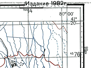 Reduced fragment of topographic map ru--gs--100k--k44-100--(1976)--N041-20_E079-30--N041-00_E080-00; towns and cities A-ko-ya