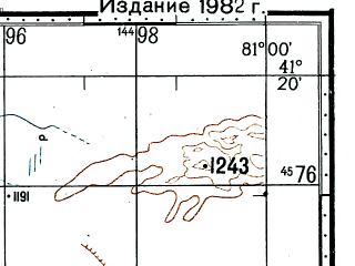 Reduced fragment of topographic map ru--gs--100k--k44-102--(1977)--N041-20_E080-30--N041-00_E081-00; towns and cities Cha-mu-tai