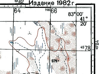 Reduced fragment of topographic map ru--gs--100k--k44-106--(1977)--N041-20_E082-30--N041-00_E083-00; towns and cities Qiman