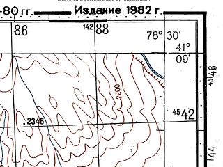 Reduced fragment of topographic map ru--gs--100k--k44-109--(1975)--N041-00_E078-00--N040-40_E078-30
