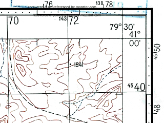 Reduced fragment of topographic map ru--gs--100k--k44-111--(1969)--N041-00_E079-00--N040-40_E079-30