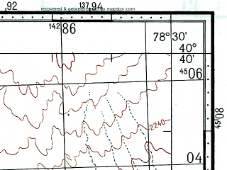 Reduced fragment of topographic map ru--gs--100k--k44-121--(1970)--N040-40_E078-00--N040-20_E078-30