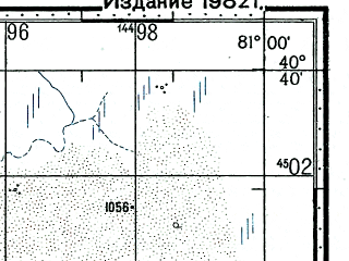 Reduced fragment of topographic map ru--gs--100k--k44-126--(1973)--N040-40_E080-30--N040-20_E081-00; towns and cities Wu-hsun-ta-mu
