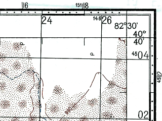 Reduced fragment of topographic map ru--gs--100k--k44-129--(1969)--N040-40_E082-00--N040-20_E082-30