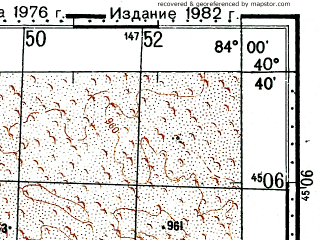Reduced fragment of topographic map ru--gs--100k--k44-132--(1976)--N040-40_E083-30--N040-20_E084-00