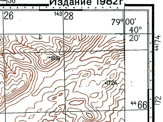 Reduced fragment of topographic map ru--gs--100k--k44-134--(1977)--N040-20_E078-30--N040-00_E079-00