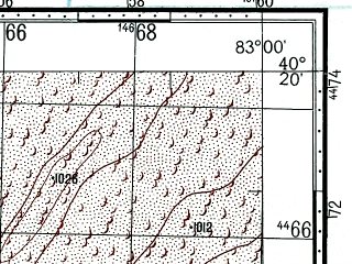 Reduced fragment of topographic map ru--gs--100k--k44-142--(1969)--N040-20_E082-30--N040-00_E083-00
