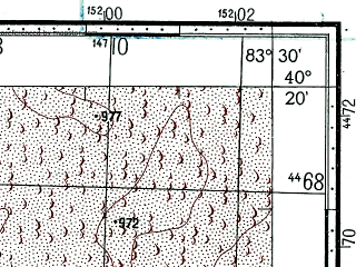 Reduced fragment of topographic map ru--gs--100k--k44-143--(1969)--N040-20_E083-00--N040-00_E083-30