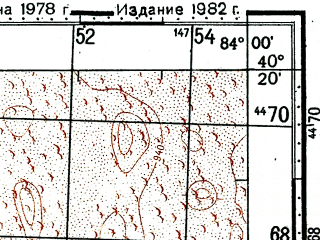 Reduced fragment of topographic map ru--gs--100k--k44-144--(1978)--N040-20_E083-30--N040-00_E084-00