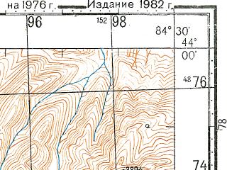 Reduced fragment of topographic map ru--gs--100k--k45-001--N044-00_E084-00--N043-40_E084-30
