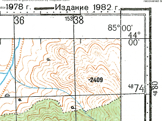 Reduced fragment of topographic map ru--gs--100k--k45-002--N044-00_E084-30--N043-40_E085-00