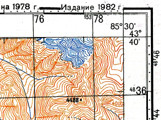 Reduced fragment of topographic map ru--gs--100k--k45-015--(1978)--N043-40_E085-00--N043-20_E085-30