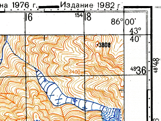 Reduced fragment of topographic map ru--gs--100k--k45-016--(1976)--N043-40_E085-30--N043-20_E086-00