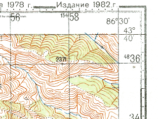 Reduced fragment of topographic map ru--gs--100k--k45-017--N043-40_E086-00--N043-20_E086-30