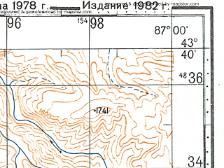 Reduced fragment of topographic map ru--gs--100k--k45-018--N043-40_E086-30--N043-20_E087-00