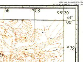 Reduced fragment of topographic map ru--gs--100k--k47-005--N044-00_E098-00--N043-40_E098-30