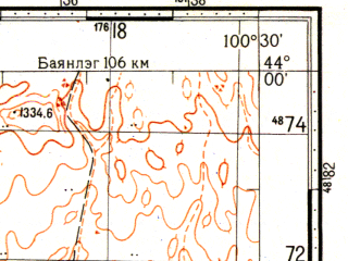 Reduced fragment of topographic map ru--gs--100k--k47-009--N044-00_E100-00--N043-40_E100-30