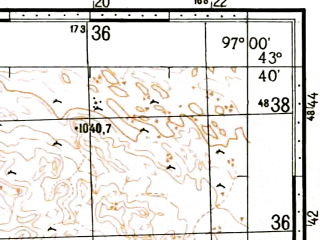Reduced fragment of topographic map ru--gs--100k--k47-014--N043-40_E096-30--N043-20_E097-00