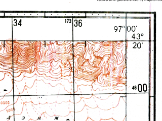 Reduced fragment of topographic map ru--gs--100k--k47-026--N043-20_E096-30--N043-00_E097-00