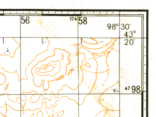 Reduced fragment of topographic map ru--gs--100k--k47-029--N043-20_E098-00--N043-00_E098-30