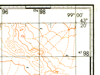 Reduced fragment of topographic map ru--gs--100k--k47-030--N043-20_E098-30--N043-00_E099-00
