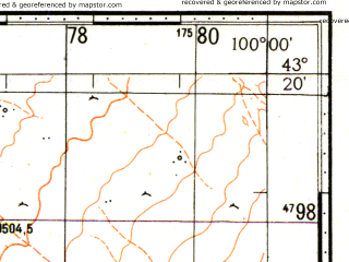 Reduced fragment of topographic map ru--gs--100k--k47-032--N043-20_E099-30--N043-00_E100-00