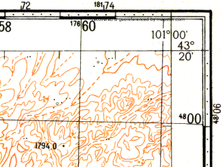 Reduced fragment of topographic map ru--gs--100k--k47-034--N043-20_E100-30--N043-00_E101-00