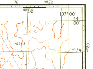Reduced fragment of topographic map ru--gs--100k--k48-010--N044-00_E106-30--N043-40_E107-00