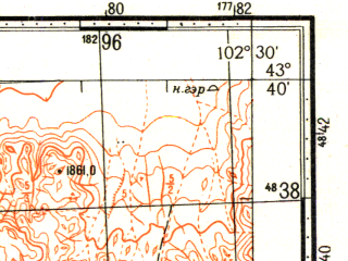Reduced fragment of topographic map ru--gs--100k--k48-013--N043-40_E102-00--N043-20_E102-30