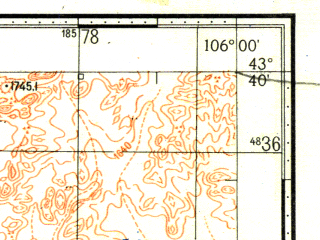 Reduced fragment of topographic map ru--gs--100k--k48-020--N043-40_E105-30--N043-20_E106-00