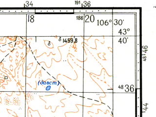 Reduced fragment of topographic map ru--gs--100k--k48-021--N043-40_E106-00--N043-20_E106-30