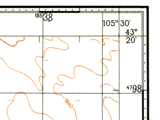 Reduced fragment of topographic map ru--gs--100k--k48-031--N043-20_E105-00--N043-00_E105-30